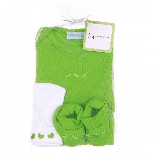 Kit de naissance vert 3 pièces Les Bébés d'Elyséa