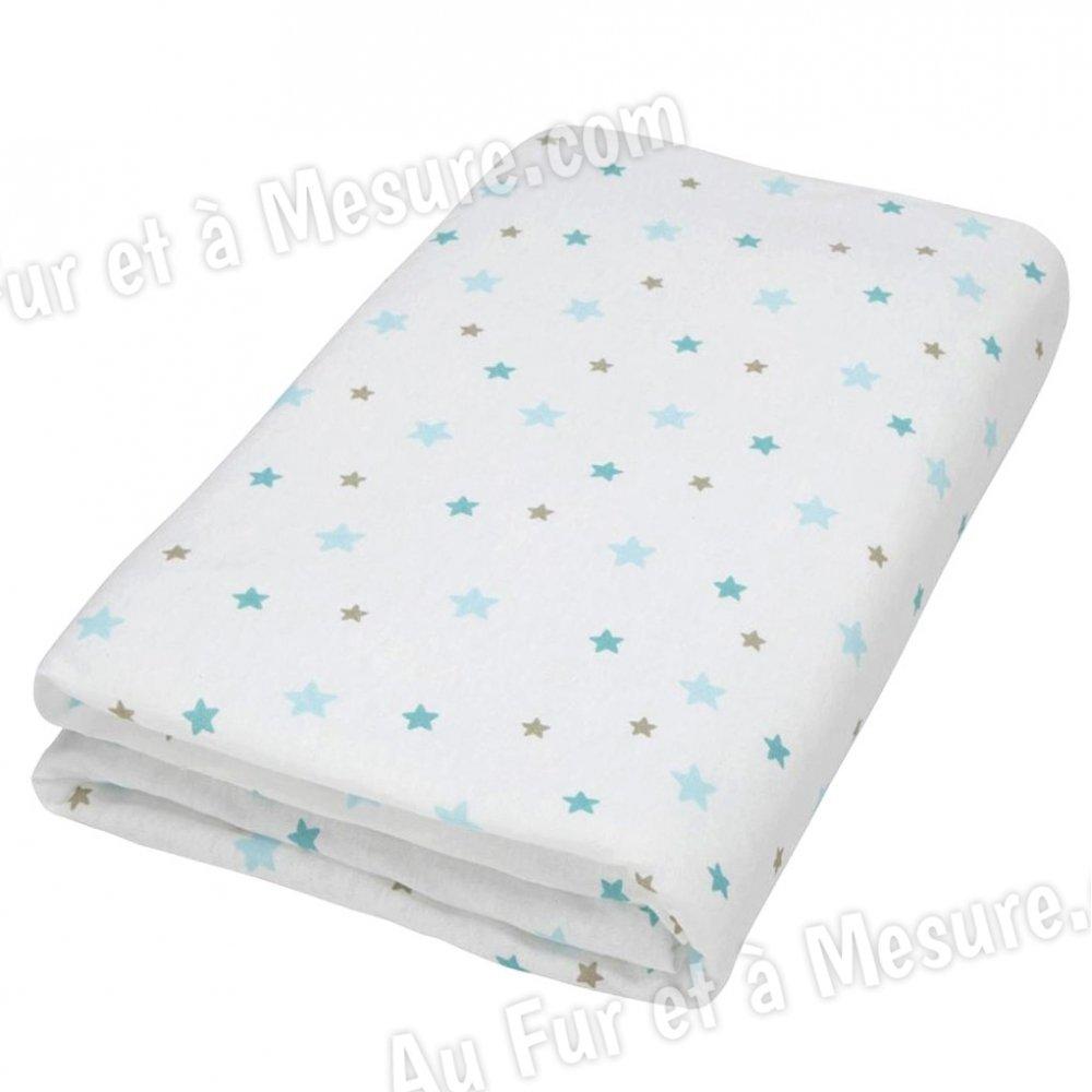 drap housse b b flocon l 39 ourson etoiles bleues doux nid. Black Bedroom Furniture Sets. Home Design Ideas