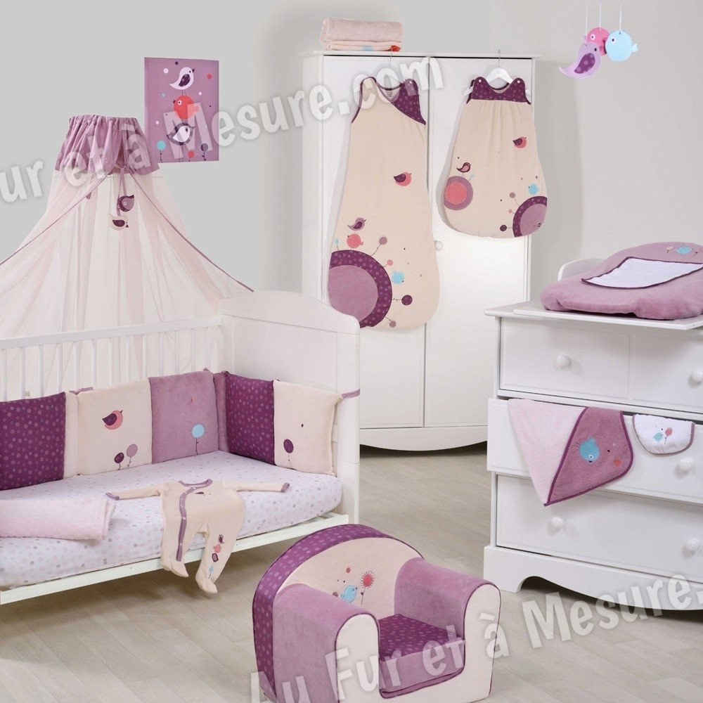 tour de lit birdy type coussin th me oiseaux fille domiva. Black Bedroom Furniture Sets. Home Design Ideas