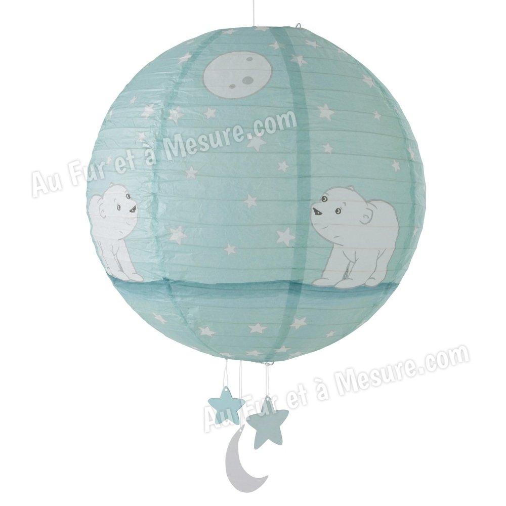 Lanterne type boule japonaise flocon l 39 ourson domiva - Suspension boule chinoise ...