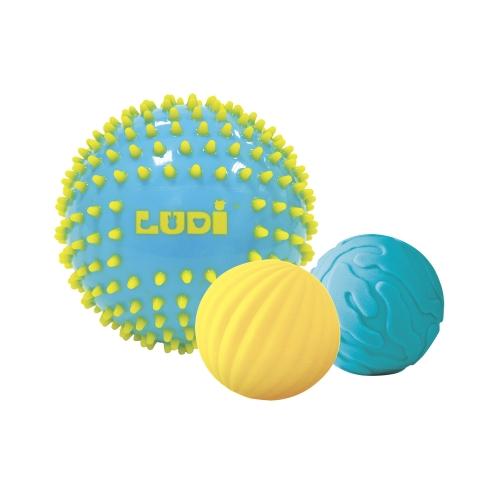 Lot de 3 balles sensorielles à textures Ludi
