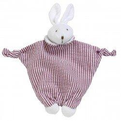 Doudou lapin rayé rouge Les Bébés d'Elyséa