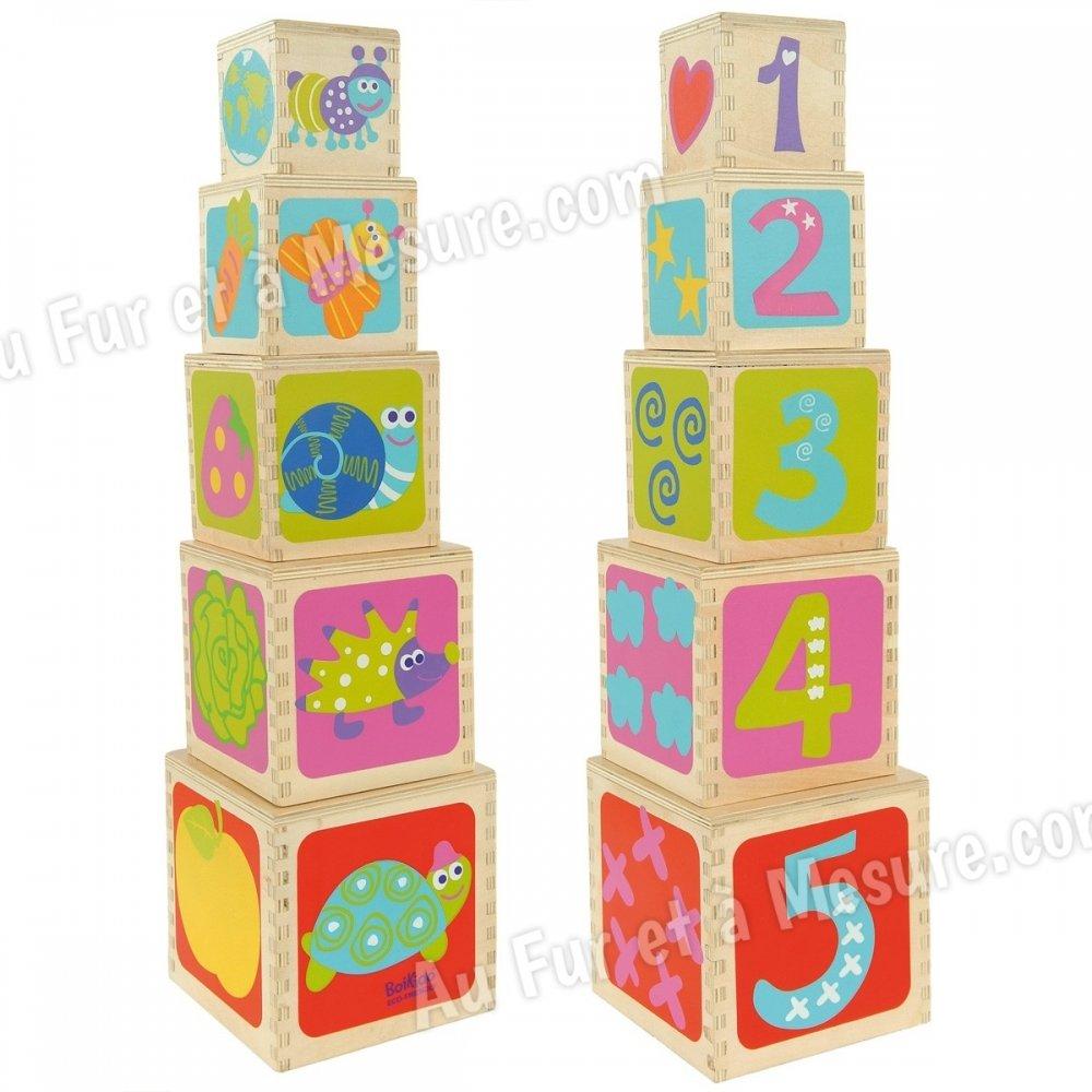 pyramide 5 cubes empiler en bois boikido. Black Bedroom Furniture Sets. Home Design Ideas