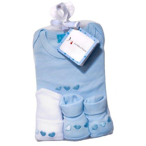 Trousseau de naissance Bleu clair 3 Pièces Les Bébés d'Elyséa
