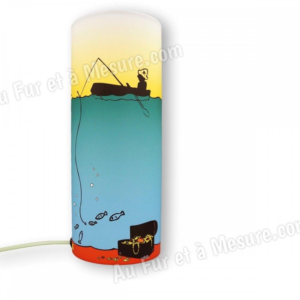 Lampe de chevet enfant verte p che au tr sor piculus for Lampe de chevet pour enfant
