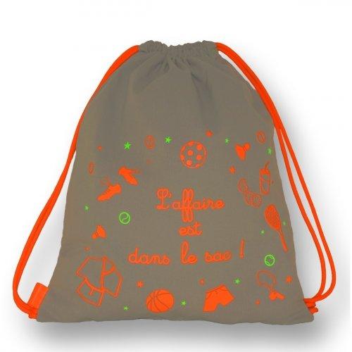 Sac à dos enfant Taupe et Orange Piculus