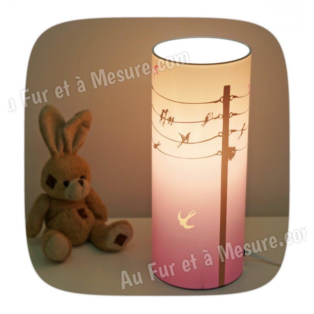 Lampe de chevet enfant bleu violet hirondelles piculus - Lampe de chevet violet ...