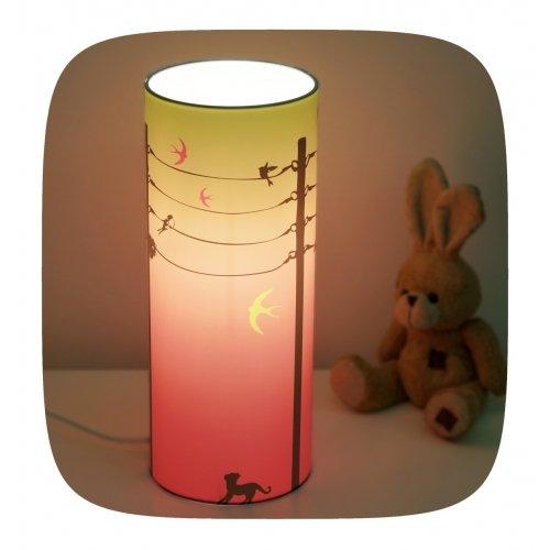 Lampe de chevet enfant hirondelles rose fushia piculus for Lampe de chevet enfant
